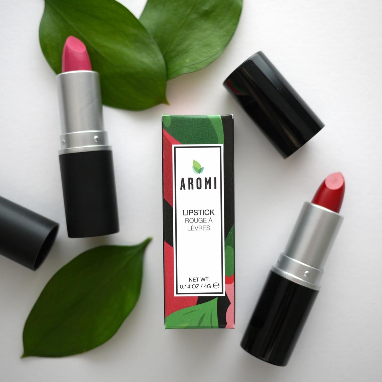 Aromi chiffon and jacqueminot lipstick