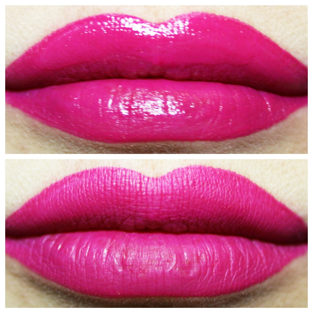 Aromi electric orchid matte liquid lipstick swatches before and after the liquid lipstick has dried to a matte finish