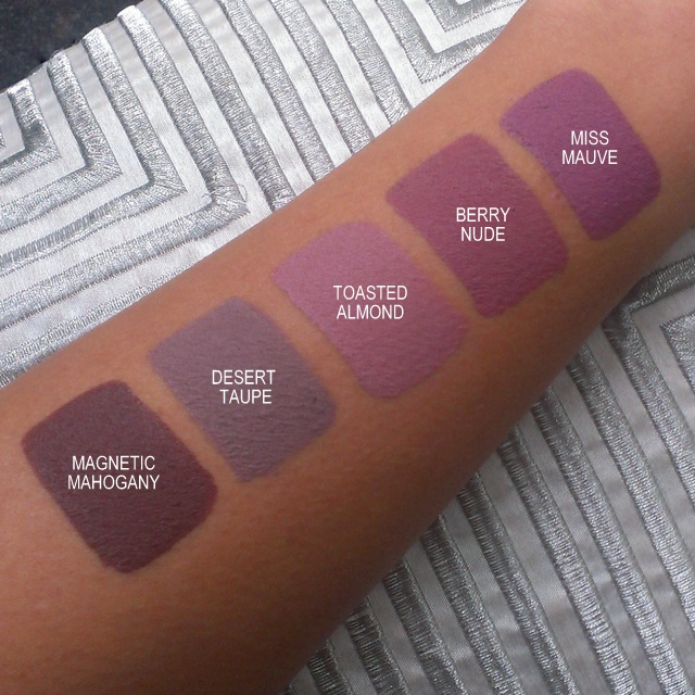 Swatches of Aromi Liquid Lipsticks - nudes