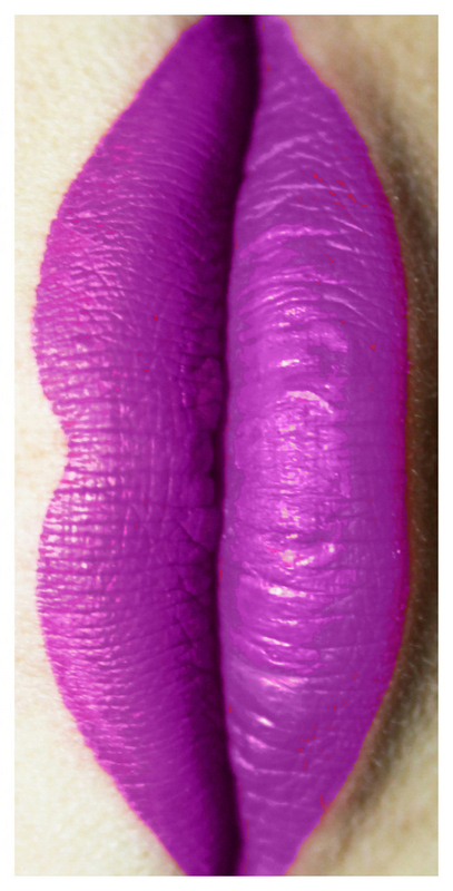 New shade of Aromi liquid lipstick in a purple-magenta color